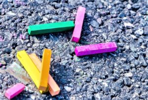 colored chalk on pavement